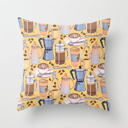 Coffee Love on Yellow Throw Pillow