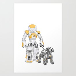 The Dog Walker. (Orange) Art Print