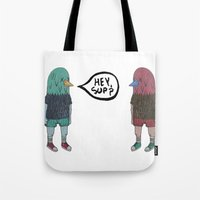 birdman Tote Bags featuring BIRDMAN by Levi Gosteli