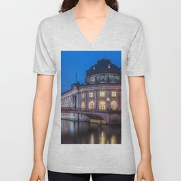 Berlin Germany Bode Museum, Spree Rivers Evening Street lights Cities river Unisex V-Neck