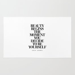 Beauty Begins the Moment You Decide to Be Yourself black and white quotes love life typography quote Rug