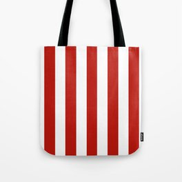 International orange (engineering) - solid color - white vertical lines pattern Tote Bag