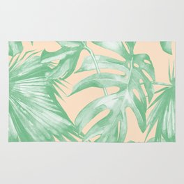 Tropical Leaves Palm Green on Citrus Rug