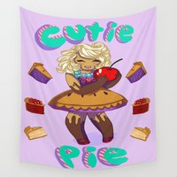 pie Wall Tapestries featuring Cutie pie by Gabalaba
