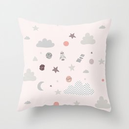 space galaxy clouds Throw Pillow