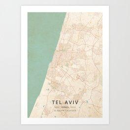 Tel Aviv, Israel - Vintage Map Art Print