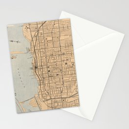 Vintage Map of Toronto (1906) Stationery Cards