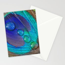 Peacock feather & water droplets Stationery Cards
