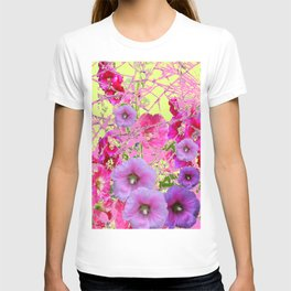 CONTEMPORARY PINK & LILAC HOLLYHOCKS ART T-shirt