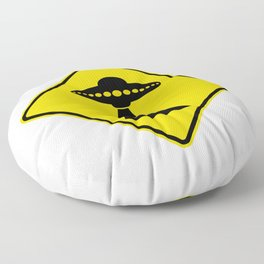 Alien Abduction Safety Warning Sign Floor Pillow