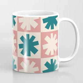 Mid Century Modern Check and Star Pattern 229 Dusty Rose Beige and Teal Coffee Mug