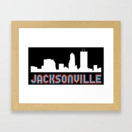Red White Blue Jacksonville Florida Skyline Framed Art Print