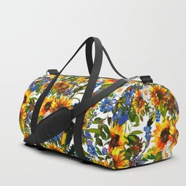 Abstract navy blue yellow watercolor sunflowers pansies pattern Duffle Bag