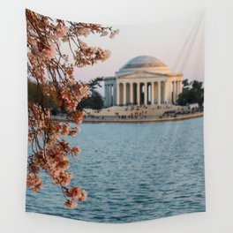 Cherry Blossoms at the Jefferson Wall Tapestry