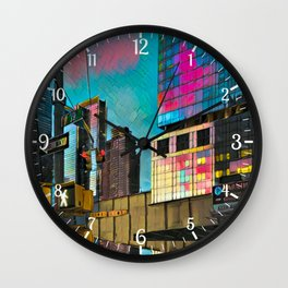 NYC Skyline at Sunset Wall Clock