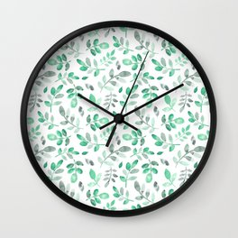 Watercolor green hand painted modern leaves pattern Wall Clock