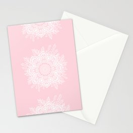 Mandala Bohemian Summer Blush Millennial Pink Floral illustration Stationery Cards