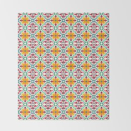 N235 - Floral Oriental Traditional Andalusian  Moroccan Style Throw Blanket