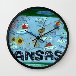 KANSAS map Wall Clock