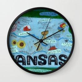 KANSAS map Wall Clock