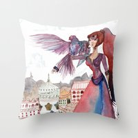 guardians Throw Pillows featuring Guardians by Ghie