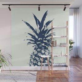 Half dark Blue Pineapple duo tone vector Wall Mural