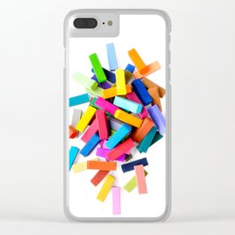Set of colorful crayons, isolated on white background Clear iPhone Case