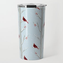 Red Cardinal Bird In The Winter Forest Travel Mug