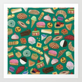 Desserts of NYC Green Art Print