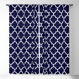 White Moroccan Quatrefoil On Navy Blue Blackout Curtain