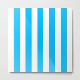 Deep sky blue - solid color - white vertical lines pattern Metal Print