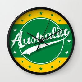 Australia, circle, green yellow Wall Clock