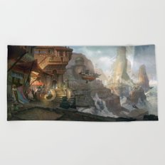 canyon city in the clouds Beach Towel