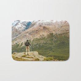 Man at Top of Andes Mountains, Patagonia - Argentina Bath Mat