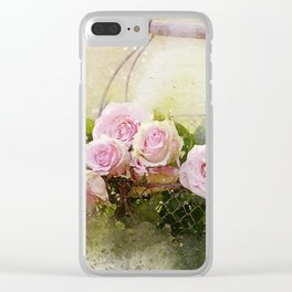Basket of Pink Roses Clear iPhone Case