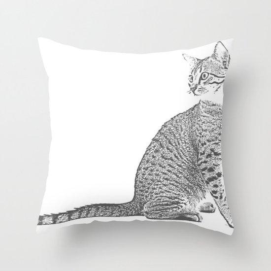 Cat Sketch Throw Pillow