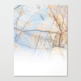 Cotton Latte Marble - Ombre blue and ivory Canvas Print