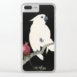 Cockatoo and Pomegranate Japanese Woodcut Clear iPhone Case