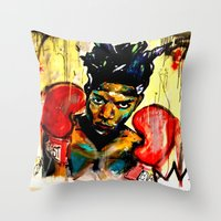 basquiat Throw Pillows featuring Basquiat by Ruby Chavez
