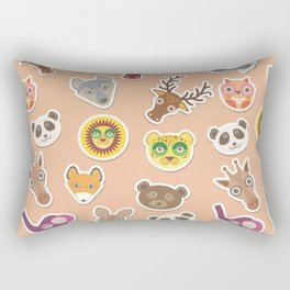 Set of funny animals muzzle seamless pattern. pink peach background. Vector Rectangular Pillow