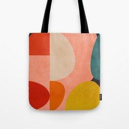 geometry shape mid century organic blush curry teal Tote Bag