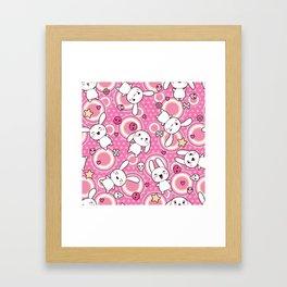 Kawaii Pastel Goth Bunny Pink Circles Framed Art Print