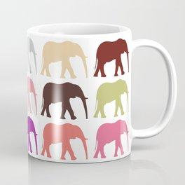 Colorful Elephants - Pink Purple Green Blue Coffee Mug