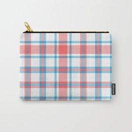 Peach Plaid Tartan Textured Pattern Carry-All Pouch