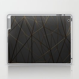 Golden Wireframe Triangles Laptop & iPad Skin