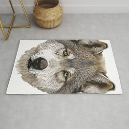 Grey Wolf Face Mammal Male Epic Gimmick Appeal Rug