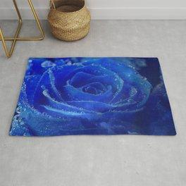 Blue Rose and Sky Rug