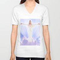 lindsay lohan V-neck T-shirts featuring Lindsay Lohan - Jesus Parody by hunnydoll