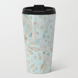 Pastel Botanical Watercolor Pattern Teal Gold Glitter Travel Mug