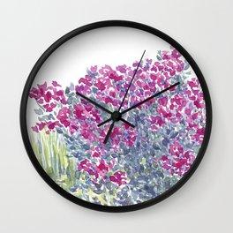 Garden Flowers Watercolor  Wall Clock